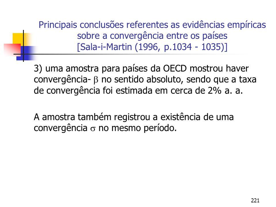 Principais conclusões referentes as evidências empíricas sobre a convergência entre os países [Sala-i-Martin (1996, p.1034 - 1035)]